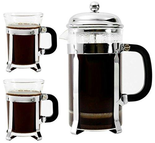 Bruntmor, Premium 34 Oz French Press set 2 mugs 7oz Double F