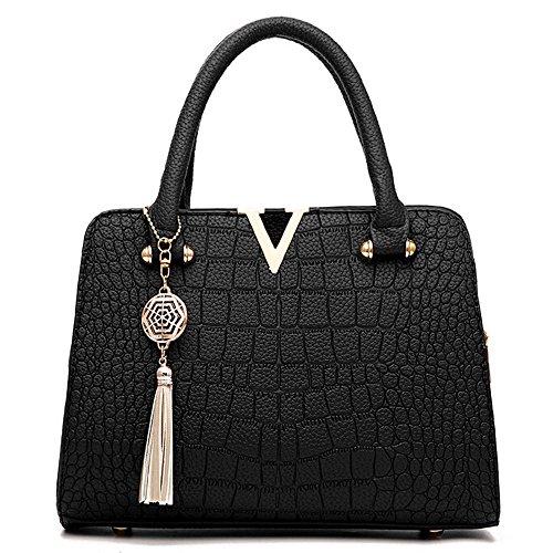 (VESNIBA Fashion Woman's Tassel Crossbody Bags Leather Handbag Alligator Pattern Shoulder Bag)