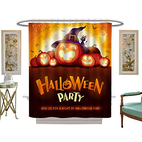 Shower Curtain, Mildew ResistantHalloween Party Jack O Lantern Party Halloween Pumpkin Patch in The Moonlight Waterproof Machine Washable, Hooks are Included W69 x H70 Inch -