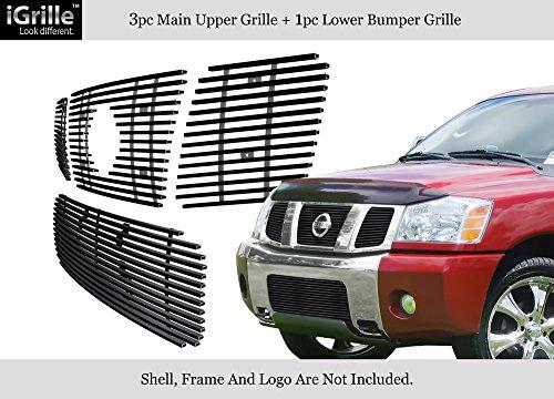 Fits 2004-2007 Nissan Armada/Titan Stainless Steel Black Billet Grille Combo #N67992J