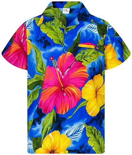 King Kameha Funky Hawaiian Shirt, Shortsleeve, Big Flower, Lightblue, XXL