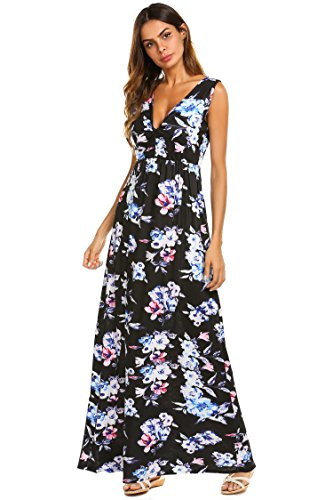 Sherosa Women's Summer Floral Printed V Neck Sleeveless Maxi Casual Dress (M, ()