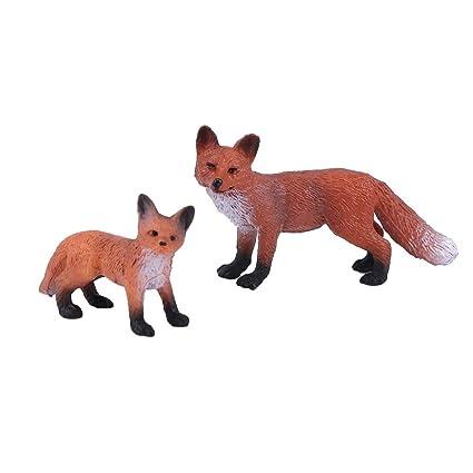 Fox Simulation Model Faux Plastic Resin Figure Toy Home Decoration Ornaments
