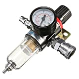 "1/4"" Air Compressor Filter Water Separator Trap Tools Kit With Regulator Gauge AFR-2000"