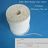 Roller and Roman Shade Blind Beaded Chain Cord,White Plastic Roller Blind Chain Repair 4.5x6mm,100meters Per Lot, Roller Curtain Bead Rope,Blind Beaded Cord for Roller Blind Fitting