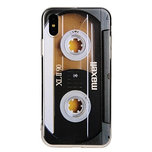 Cover Case Cassette - TNCY Bumper Soft TPU Music Cassette Tape Retro 80's Type Amazing Back Cover Phone Case Compatible with iPhone X