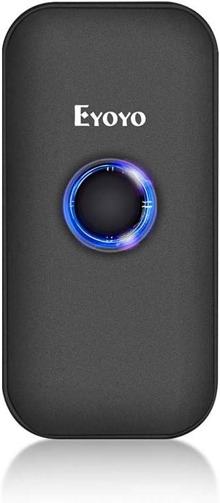 Eyoyo Mini 1D 2D QR Escáner de Código de Barras, Lector de Código de Barras 3-en-1 Conexiones USB Cable/ 2.4G Inalámbrico/Bluetooth para POS, Teléfono Inteligente, Tabletas, iOS, Android y Windows