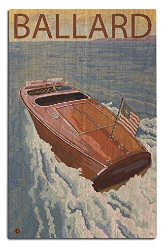 (Lantern Press Ballard, Seattle, Washington - Chris Craft Boat (12x18 Wood Wall Sign, Wall Decor Ready to Hang))