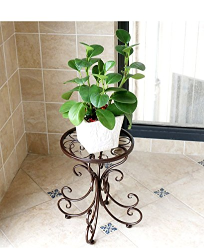 - XiYunHan Flower Stand, Continental Iron Art Flower Stand Single Layer Floor-standing Manual Making High Temperature Paint Container Balcony Living Room Indoor Bonsai Plant Potted Home Bracket