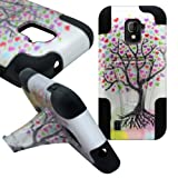 CoverON Kickstand Hard + Soft Dual Layer Hybrid Case for ZTE Source / Majesty - Love Tree Design Hard Black Soft Silicone