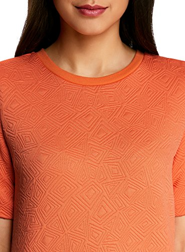 oodji Collection Mujer Suéter de Tejido Texturizado con Manga Corta Naranja (5500N)