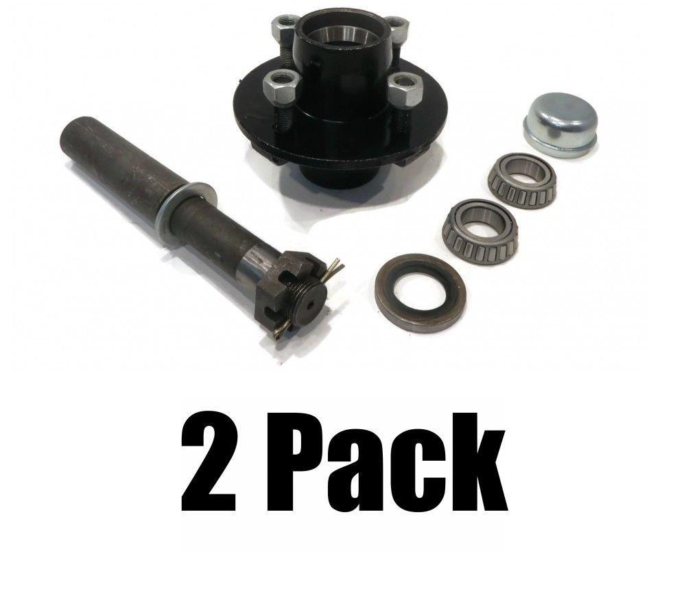 The ROP Shop (2) TRAILER AXLE KIT Assemblies w/4 on 4'' Bolt Idler Hub & 1'' Round BT8 Spindle
