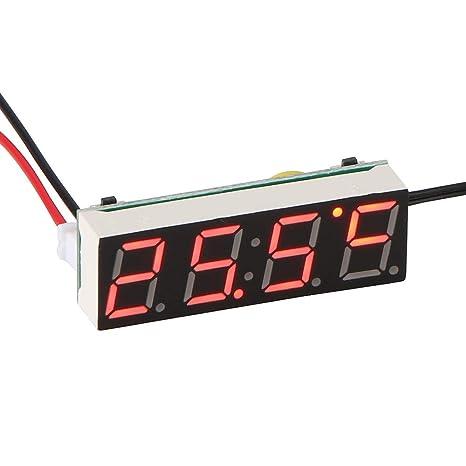ALLOMN Reloj Digital del Coche, Voltímetro del Termómetro del Reloj Eléctrico del Coche con la