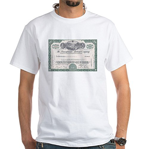 CafePress Pennsylvania RR Stock certificate White T-Shirt - 100% Cotton T-Shirt, (Pennsylvania Stock)