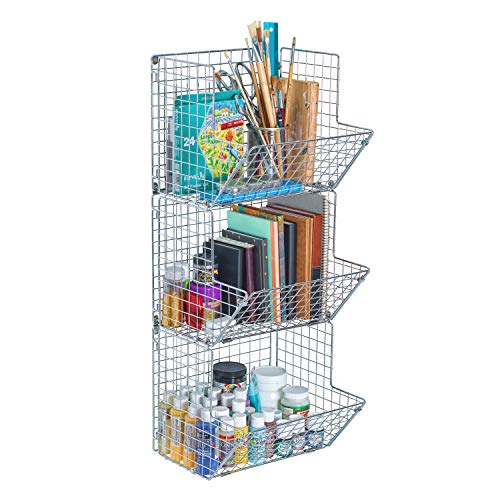 (Saratoga Home Premium 3-Tier Wall Mounted Hanging Wire Baskets With Chalkboards - Chrome - High-Grade Iron - Office, Art Supplies or Garage Storage - Fruit or Produce Rack - Industrial-Style Organizer)