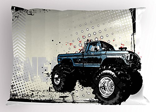 Ambesonne Truck Pillow Sham, Halftone Pattern Background with Color Splashed Frame and Monster Truck Motif, Decorative Standard Size Printed Pillowcase, 26 X 20 Inches, Ivory Blue Black ()