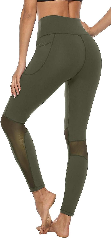 AABB Womens Mesh Insert Yoga Pants,Fashion Design,Healthy,Non See-Through Tummy Control 4 Way Stretch Leggings