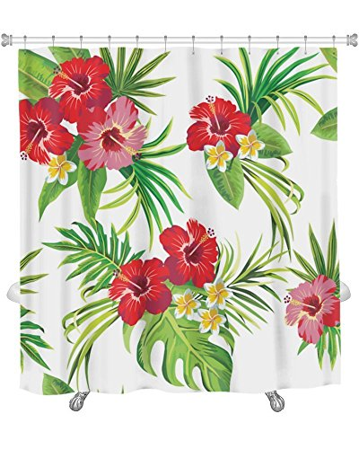 Gear New Premium Shower Curtain, Hibiscus And Palm Leaves...