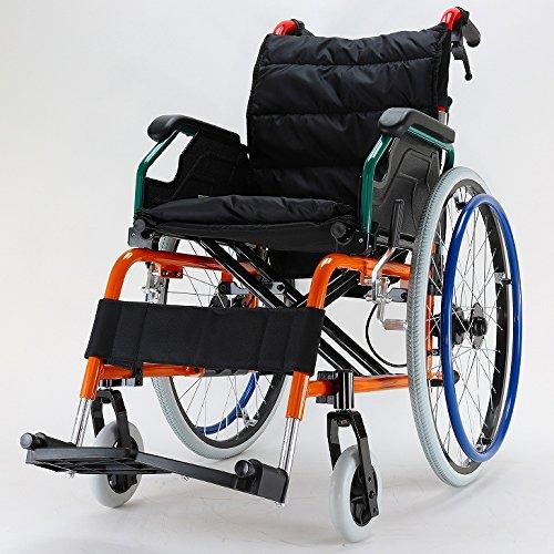 カドクラ 自走式 軽量アルミ製 折りたたみ 車椅子 スニーカー B104-AS B005N3MHE6