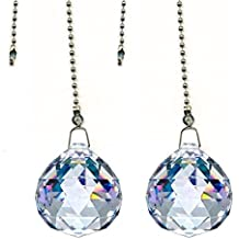 Gusnilo Beauty Crystal Clear Crystal Ball Prism 4 Pieces Dazzling Crystal Ceiling FAN Pull Chains (20mm)