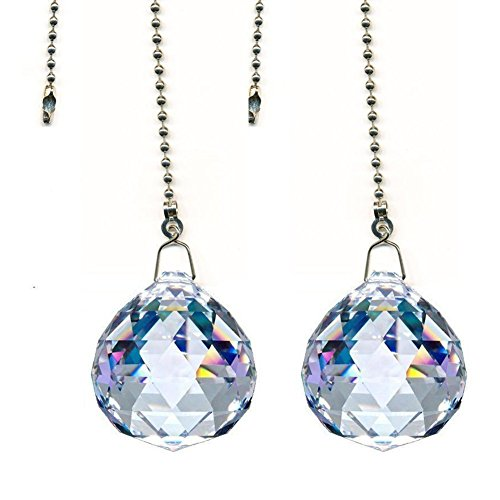 Beauty Crystal Clear Crystal Ball Prism 4 Pieces Dazzling Crystal Ceiling FAN Pull Chains (30mm) (Chain Pulls Decorative)