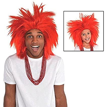 Game Ready Team Spirit Party Crazy Wig Accessory, Red, Synthetic Hair , One size