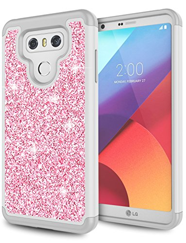 LG G6 Case, LG G6 Plus Case, LG G6 Case for Girls, Jeylly Bling Glitter Luxury Crystal Dual Layer Shockproof Hard PC Soft TPU Inner Protector Case Cover for LG G6 / LG G6 Plus - Pink