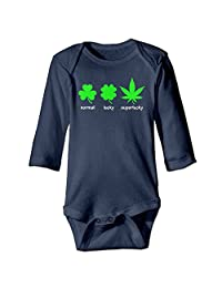 Normal Lucky Superlucky Hemp Leaf Baby Long Sleeves Climbing Clothes Unisex Triangle Bodysuit Navy Beautiful