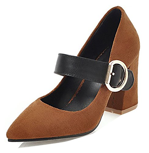 Aisun Womens Stylish Low Cut Pointed Toe Dressy Buckled High Block Heel Pumps Shoes With Ankle Strap Brown