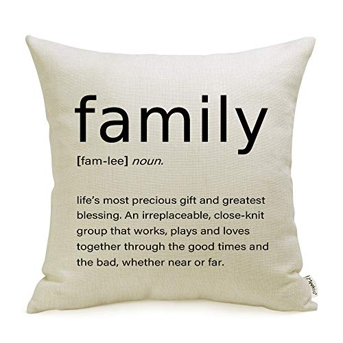 (Meekio Farmhouse Pillow Covers with Family Quotes 18 x 18 Inch for Farmhouse Décor Housewarming Gifts for New Home)