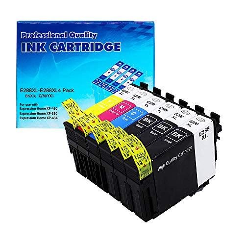 LINKO Re-Manufactured Ink Cartridges Replacement for Epson T288XL 288XL use with XP-330 XP-340 XP-430 XP-434 XP-440 XP-446 (3 Black, 1 Cyan, 1 Magenta, 1 Yellow, 6 Pack)