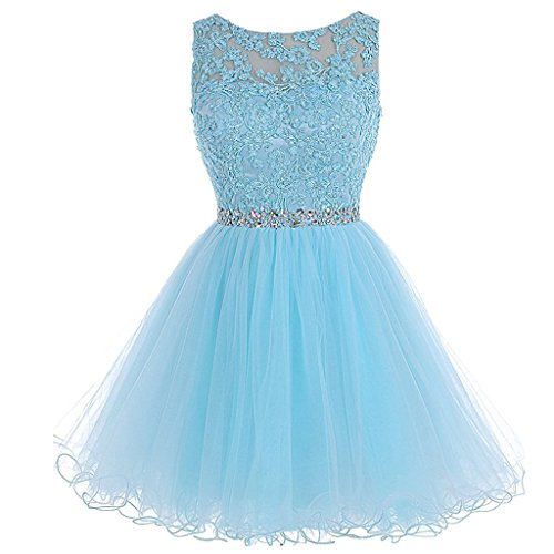 Aiyi Sheer Bateau Beaded Lace Tulle Short Corset Prom Homecoming Dresses Sky Blue US 2