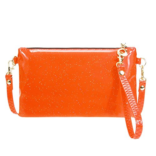 Women Wristlets Orange Coin Zipper Crossbody Sequins Ecotrump PU Shoulder Bag Mini Clutch 1qvOxwdwB