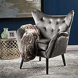 Ashton Mid Century Black Velvet Arm Chair