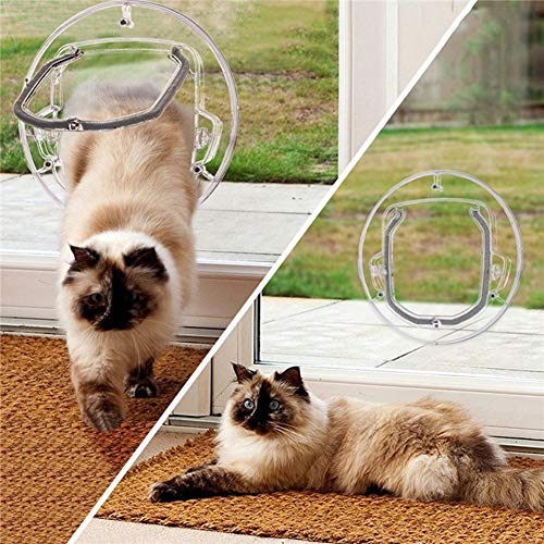 PanDaDa Cat Flap Door, 4 Way Locking Cat Doors, Small Pet Door for Cats, Small Dogs, Puppy and Doggie, Fits for Sliding Round Glass Door with Telescoping Tunnel Frame, Glass Window