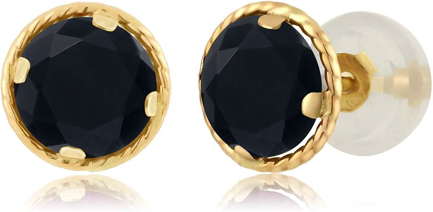 ONYX GOLD EARRINGS 14K Solid Yellow Gold  Onyx Gemstone Triangle Stud Earrings 18 mm
