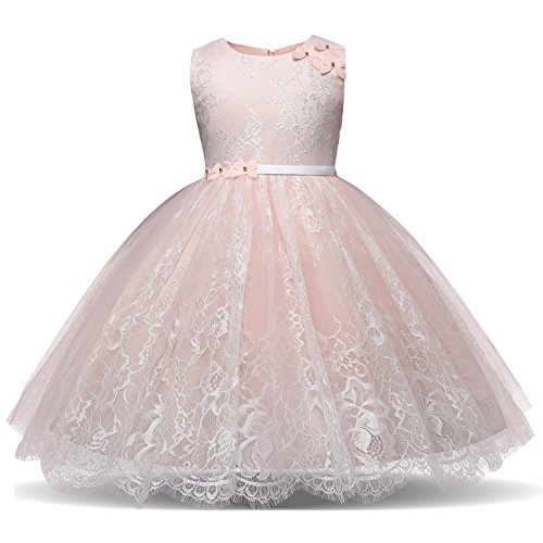 Tutu Dresses for Girls Beauty Pageant Dress 4 Years Old Size 2T 3T Princess Girl Pageant Party Tulle lace Ruffle Dress Sleeveless Knee(Blush 2-3 Years 100) ()