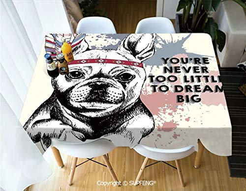 Square Tablecloth Animal Pub Dog with Tribal Feathers and Inspirational Quote Print (60 X 84 inch) Great for Buffet Table, Parties, Holiday Dinner, Wedding & More.Desktop Decoration.Polyester Wrinkle