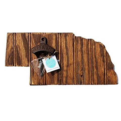 Grace Graffiti Nebraska State Bottle Opener with Chestnut Stain (Horse Tooth Necklace)
