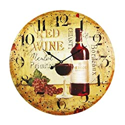 Wine Motif 23 Inch Diameter Wall Clock Vineyard