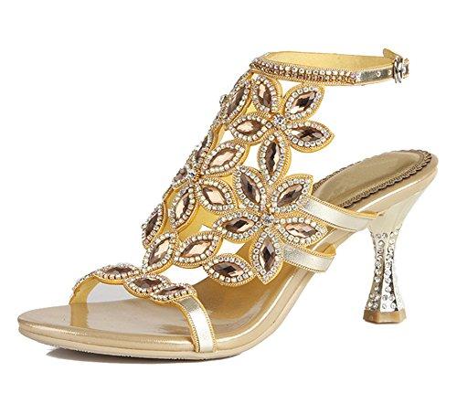 Paseo Medio Nupcial Noche Señoras Fiesta Strappy Mujer Gold a Boda Diamante Sandalias ZPL Tacón Hecho mano 0zv7xqwx