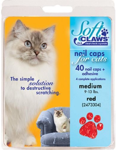 Soft Claws for Cats - CLS (Cleat Lock System), Size Medium, Color Red]()