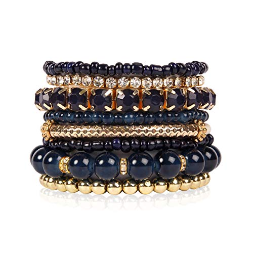 RIAH FASHION Multi Color Stretch Beaded Stackable Bracelets - Layering Bead Strand Statement Bangles (Original - Navy, 8) ()