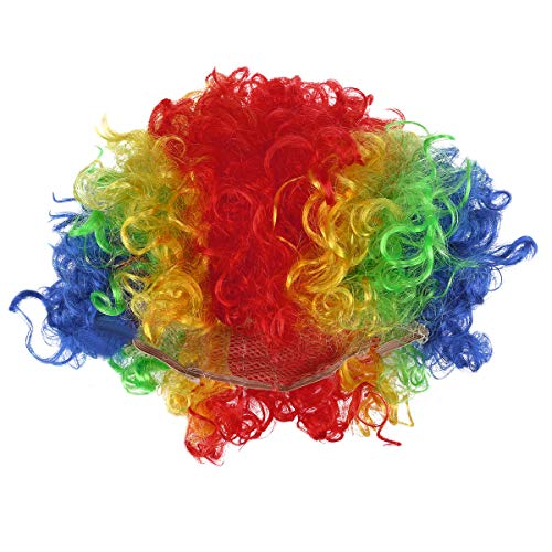 BESTOYARD Fluffy Afro Clown Wig Funny Party Wigs Performance Props for Masquerade Carnival Cosplay (Rainbow) -