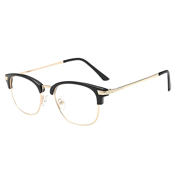 ab6d50cb92d Deylaying Near Sighted Half Rim Anti-Radiation Short Distance Glasses  Myopia Eyeglass -1.0 to -6.0 (These are not reading glasses)  Amazon.co.uk   Clothing