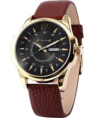 ORKINA Elegant Black Dial Date Day Display Leather Mens Quartz Dress Wrist Watch Gift ORK144