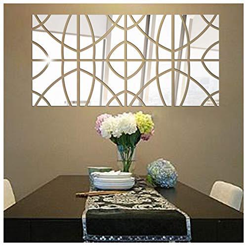 Wociaosmd DIY 3D Mirror Rectangle Acrylic Removable Wall Sticker Decal Home Decor Mural Art 14Pcs (Silver)