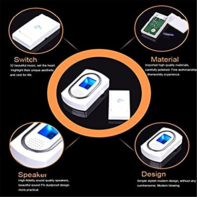 Doorbell,Tuscom@ LED Wireless Chime Door Bell Doorbell & Wireles Remote control 32 Tune Songs