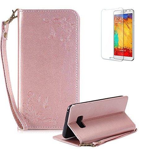 Para Samsung S8Plus Caso, funyye elegante Premium Bordado Rosa Flor Patrón PU piel Wallet Case Con [Correa para Muñeca]...