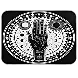 MAHU Kitchen Dish Drying Mat Vintage Tribal Fortune Teller Hand Absorbent Drying Mats Washable Drainer Mat Pad for Countertop Home Dishes Sinks, 16x18 inch